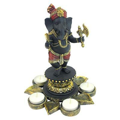 Design Toscano Standing Lord Ganesha on Lotus Flower Candle Holder Statue