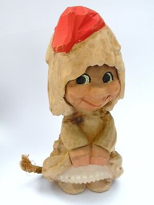 Vintage Hand Carved Wood Henning Norway Girl Gnome Troll Flirt 6 Inch Figurine