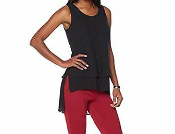 c0b022e7749600 SERENA WILLIAMS Sleeveless Double Layer Ribbed Knit Tank Top Blouse Black  SZ 3X