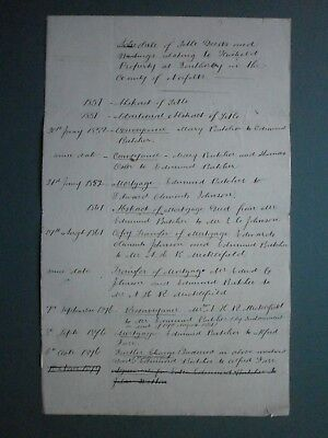 C1879 Schedule Title Deeds For Property At Southery Norfolk Name Of Butcher Etc