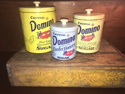 Vintage Crystal Domino Sugar Canisters Set of 3 Kitchen Advertising