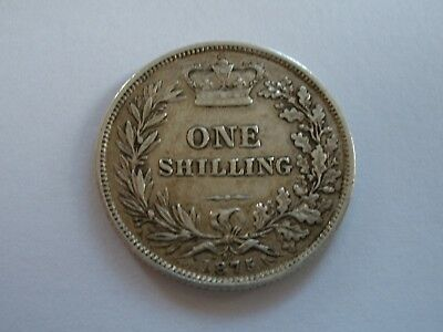 1875 QUEEN VICTORIA SILVER SHILLING - DIE No. 52 - VF - UK POST FREE