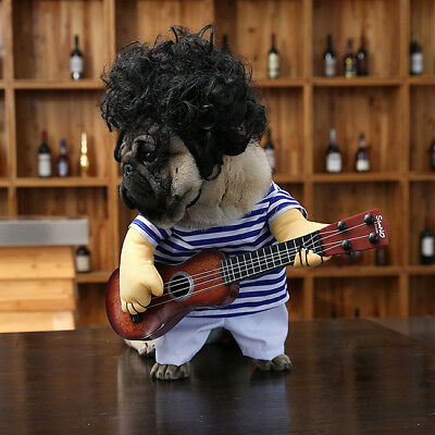 Halloween Pet Dog Cat Costumes Charming Guitar Puppy Cosplay  Party Apparel CB