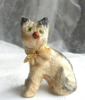 Vintage Miniature Mohair Covered CAT Figurine Glass Eyes GERMANY