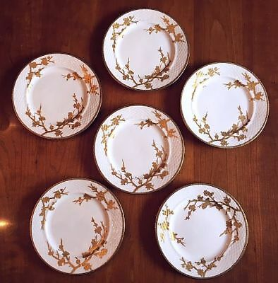 "Rare Set of 6 EJD Bodley THORN Gilded 7.5"" Salad / Luncheon Plates c1870s - N/R"