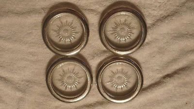 """4 Vintage Round 4"""" Glass Crystal Silver Plated Rim Coasters /ashtrays/italy"""