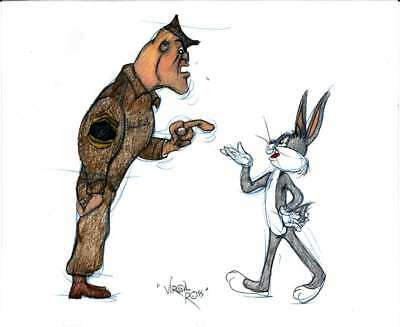 A2721: Warner Bros Bugs Bunny Colored Drawing, DRAWN & SIGNED BY VIRGIL ROSS