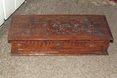 Stunning Antique Carved Black Forest Wood Box  Flowers & Leaves