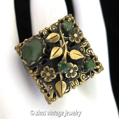 Vintage 1950's Victorian revival Gold FLORAL filigree Jade stone Cocktail RING