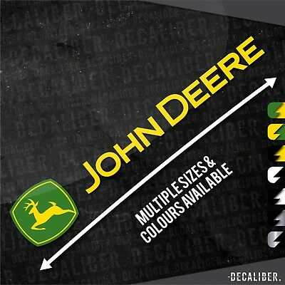 Long 2 Tone John Deere with Deere Badge / Emblem / Sticker / Decal for Tractor