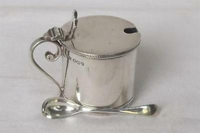 A Solid Sterling Silver Drum Mustard Pot & Associated Spoon Sheffield 1920.