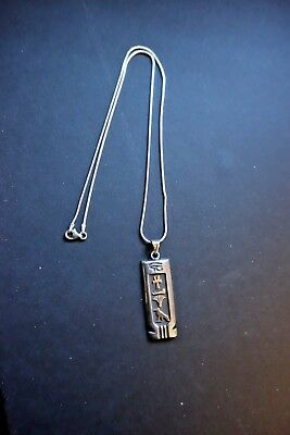 LDR34 SILVERPLATEANCIENT EGYPTIAN STYL AMULET PENDANT with sterling silver chain