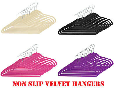 Non Slip Luxury Flocked Velvet Hangers Clothes Coat Trouser Hanging Space Saving
