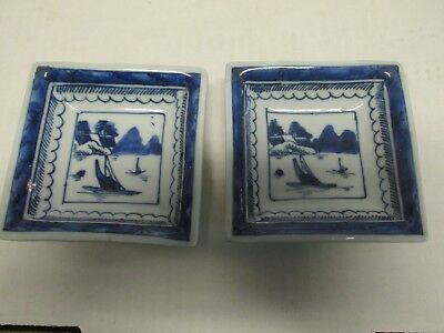2 Chinese Porcelain Blue and White Bowl Canton Pattern Bowls Quing Dynasty