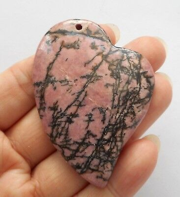55mmX40mm Heart pendant-Natural Rhodonite gemstone Pendant