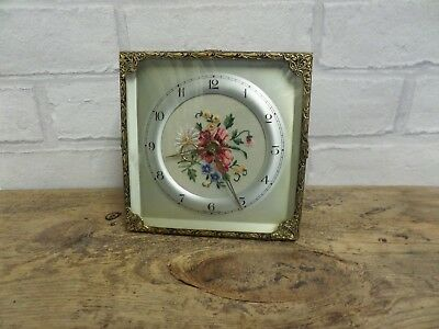 VINTAGE 1950s  PETIT POINT DIAL BRASS CASE DRESSING TABLE CLOCK .WORKING
