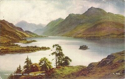 LOCH LOMOND AND BEN LOMOND vintage postcard used unposted 2d brown stamp 1950/60