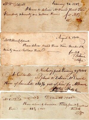 1800, Newburyport, MA., Moses Brown, merchant, signed receipt group, rum , goods