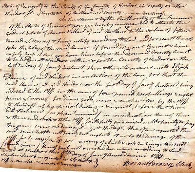 1785, Windsor, Vermont, Patriot Briant Brown, signed document group, as clerk