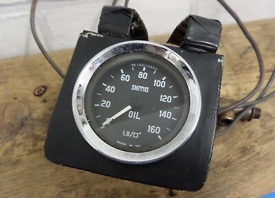 Vintage Smiths Oil Pressure Gauge With Copper Piping & Connectors 479 Made In Uk