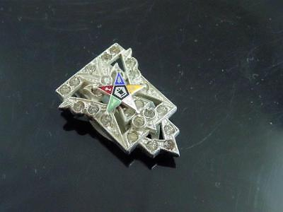 Antique Order of the Eastern Star Scarf Clip With Enamel Star & Rhinestones