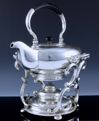 RARE & EXCLLENT c1850 GERMAN SOLID SILVER TIPPING TEAPOT KETTLE ON WARMING STAND