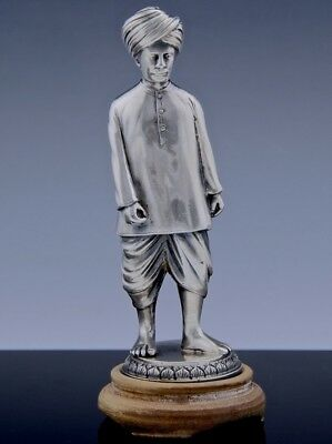 SUPER HIGH QUALITY MIDDLE EASTERN INDIAN CAST SOLID SILVER MAN w TURBAN FIGURE