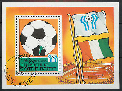 Ivory Coast Cote d'Ivoire 1978 World Cup Football 500f MS miniature sheet used