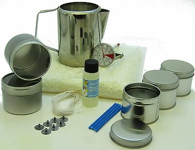 Soy wax candle making kit: 6 tins, fragrance, 500g soy wax, jug & thermometer