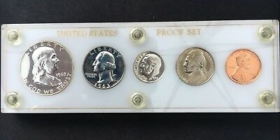 Gem 1963 90% Silver US Proof Set In White Capital Holder - Toned
