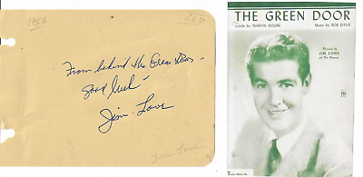 Jim Lowe...vintage In Person Genuine Hand Signed Album Page With Image...