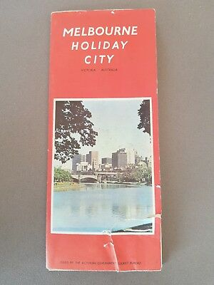1971 Vintage Melbourne City Road Map of Victoria