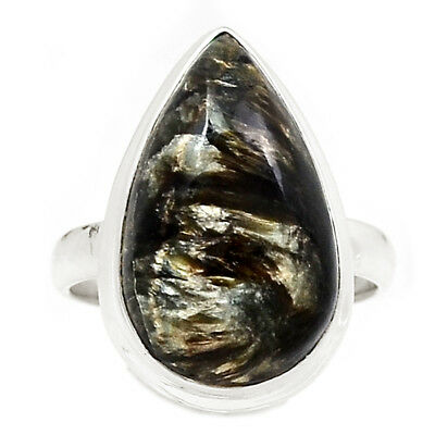 Rare Black Golden Seraphinite From Serbia 925 Silver Ring Jewelry s.8.5 RR204500