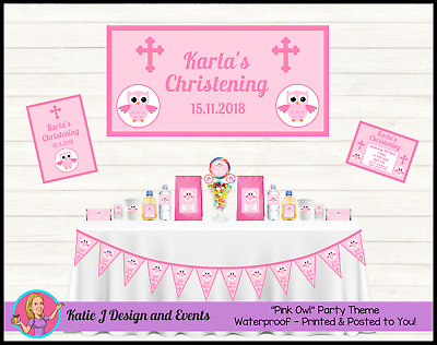 * PERSONALISED Girls Pink Owl CHRISTENING Decorations Supplies Favours Baptism *