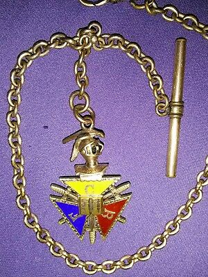 """Vintage Watch Chain And Knights Of Pythias Fob 11"""""""