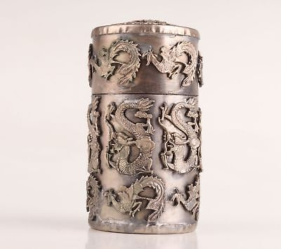 Vintage Chinese Tibet Silver Toothpick Box Old Hollowed-Out Dragon Sacred Craft