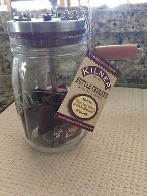 Kilner Butter Churner - Glass Jar with Crank Handle Kitchen Tool 34 oz NEW