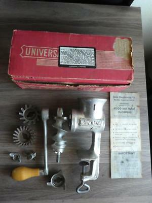 Vintage Universal No. 1 Food Chopper Meat Grinder with Wooden Handle and Box