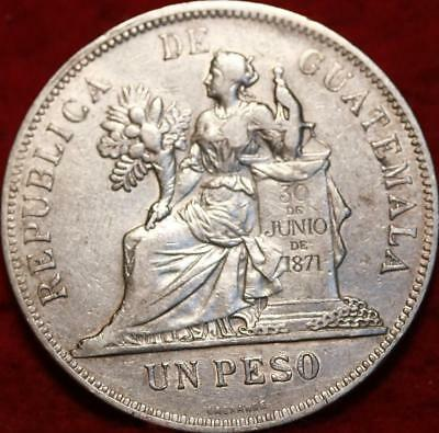 1897 Guatemala 1 Peso Silver Foreign Coin
