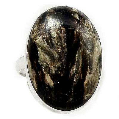 Rare Black Golden Seraphinite From Serbia 925 Silver Ring Jewelry s.8.5 RR204493