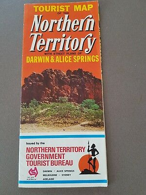 1973 Tourist Map of Northern Territory and road map of Darwin and Alice Springs