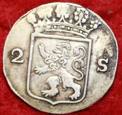 1792 Netherlands Holandia 2 Stuivers Foreign Coin