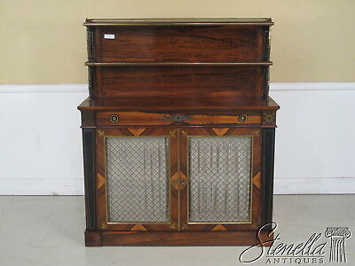 22378E:  Vintage Rosewood Chiffoneer Hall Console with Brass Inlay