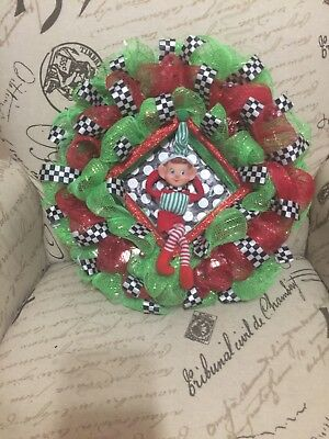 elf christmas Wreath 14 inch