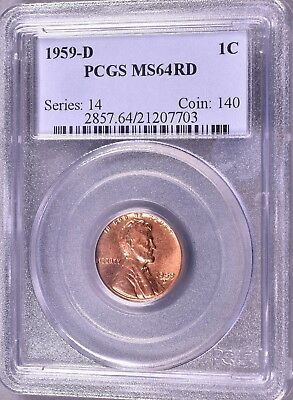 """1959-D Lincoln Penny  1C  PCGS MS64 RD   """"Series:  14   Coin:  140""""  *J827"""