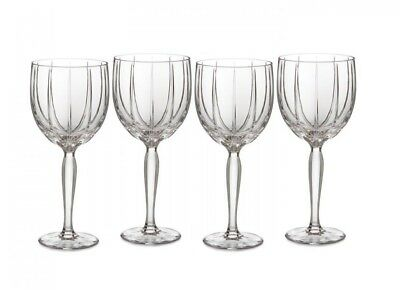 New Marquis By Waterford 4 Pc Omega Crystal All Purpose Wine Glasses,goblet+Box