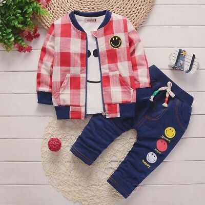 Baby Boys Casual Outfits Kids Sport Clothing Sets Toddler Tracksuit Costume 3PCS