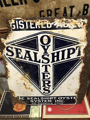 "Oyster Double Sided Porcelin Sign. 15"". X 14+1/2"""