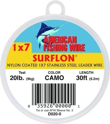 AFW D020-0 Surflon, Nylon Coated 1x7 Stainless Leader Wire, 20 lb (9