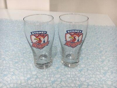 New Unwanted NRL  Sydney Roosters Drinking Glasses X 2